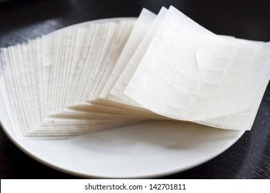 Vietnamese dry rice paper.