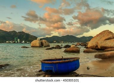 A Vietnamese fishing boat on the coast