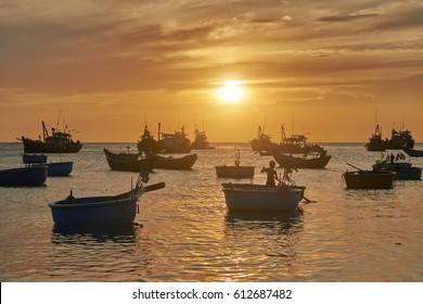 Vietnamese fishing village, Mui Ne, Vietnam, Southeast Asia. Landscape with sea and traditional colorful fishing boats