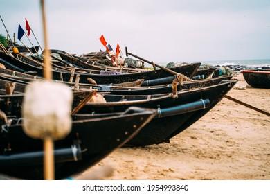 Vietnamese Fishingboats on an empty Shore