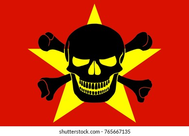 Vietnamese flag combined with the black pirate image of Jolly Roger with crossbones