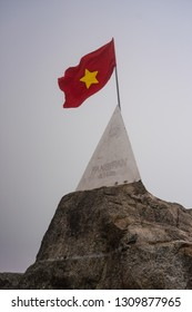 Vietnamese Flag on Fansipan Mountain, Sapa, Vietnam