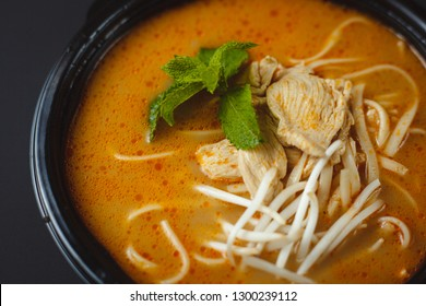 Vietnamese Fo-Bo soup with rice noodles and chicken
