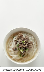 Vietnamese food, beef soup and rice noodles
