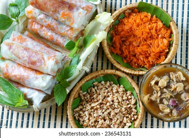 Vietnamese food, bo bia is street food, snack that delicious, cholesterol free, make from dried small shrimp, vegetables, sausage, peanut in rice paper roll, sauce, Bobia is popular snack in Vietnam