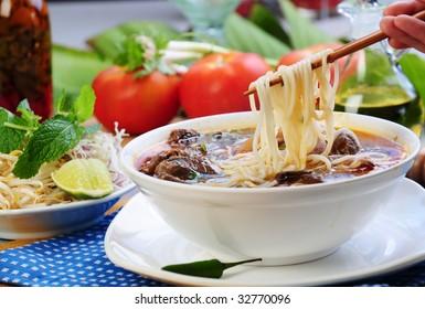 Vietnamese food bun bo heu