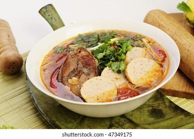 Vietnamese food bun ca or fish noodles