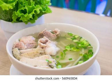 Vietnamese food: closeup of a pork noodle soup bowl (Vietnam called pho)