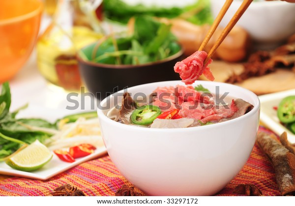 Vietnamese Food Pho Tai Noodle Stock Photo (Edit Now) 33297172