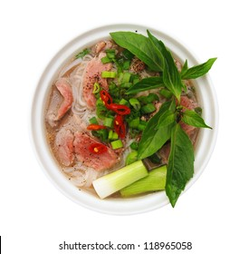 Vietnamese food , rice noodle soup with sliced rare beef