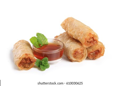 vietnamese food, spring roll isolated on white background
