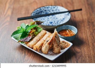 Vietnamese Fried Spring Rolls Cha Gio with fish sauce