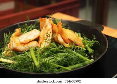 Vietnamese grilled turmeric fish with dill, Cha ca La vong, popular in Hanoi.