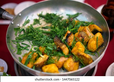 Vietnamese Hanoi speciality fried fish with dill