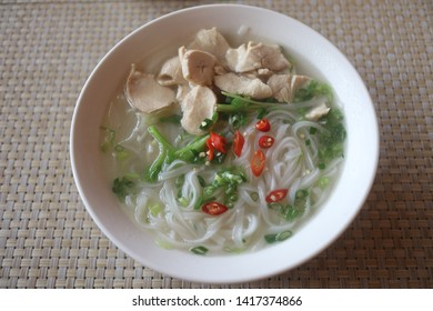 Vietnamese homemade rice noodle soup
