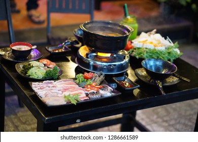 Vietnamese hot pot, one of the healthiest way to enjoy fresh food includes seafood, beef, pork, vegetables, mushrooms, etc. served with different types of dipping sauces such as garlic soy, fish sauce