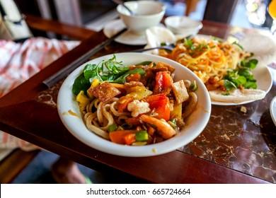 Vietnamese noodle Mi Quang at Tra Que village, Hoi An old town, Vietnam