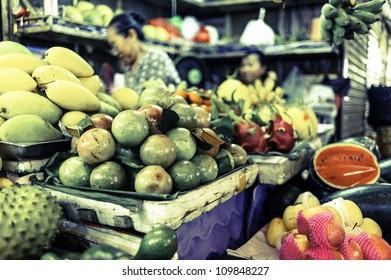 Vietnamese old market in Ho Chi Minh City, Vietnam. It is known as Ben Thanh Market.