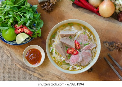Vietnamese pho soup with beef, meatball, fresh vegetable