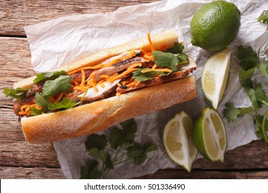 Vietnamese Pork Banh Mi Sandwich with Cilantro and carrot close-up on the table. horizontal view from above