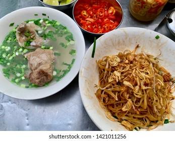 Vietnamese rice noodle soup hu tieu