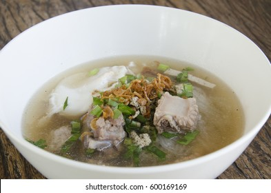 Vietnamese Rice Noodle Soup with Pork spare Ribs and Soft-Boiled Egg