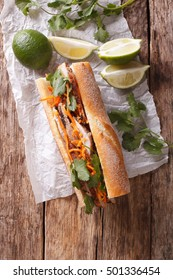 Vietnamese sandwich with cilantro and carrot close-up on the table. vertical view from above