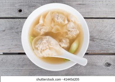 Vietnamese shrimp and pork wonton soup close-up shot, hoanh thanh