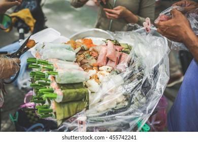 Vietnamese street food. Traditional spring rolls.