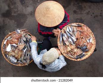 Vietnamese street vendor in Hanoi