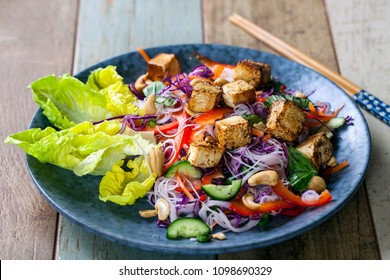 Vietnamese style salad with tofu and vermicelli noodles