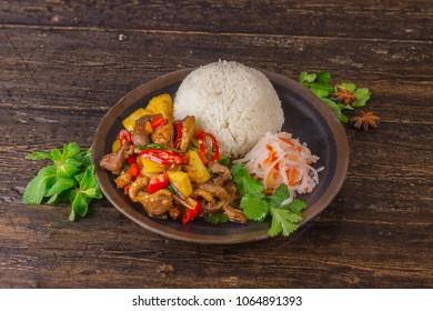 Vietnamese tradicional dish on wooden background