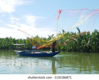 Vietnamese traditional fishing by a villager of Cam Thanh village (coconut village), Hoi An, VIetnam