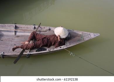 Vietnamese vendor, resting