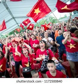 Vietnam's fans at the stadium in Nam Ðinh on September 1 , 2018