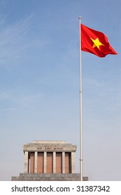 Vietnam's flag flying high in front of its late leader, Ho Chi Minh's, mausoleum.