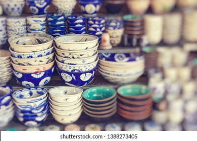 Vietnam's traditional souvenirs are sold in shop at Hanoi's Old Quarter. Vietnam. Selective focus.