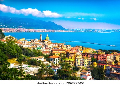 Vietri sul Mare and Salerno town in Amalfi coast, panoramic view. Campania Italy, Europe