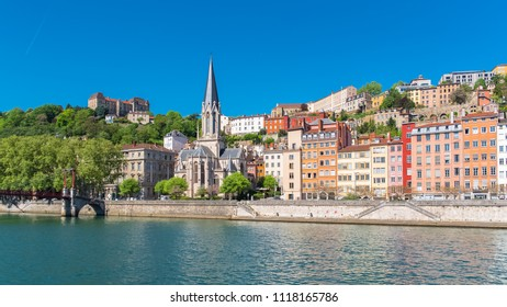 Vieux-Lyon, Saint-Georges church on the quay, colorful houses in the center, panorama