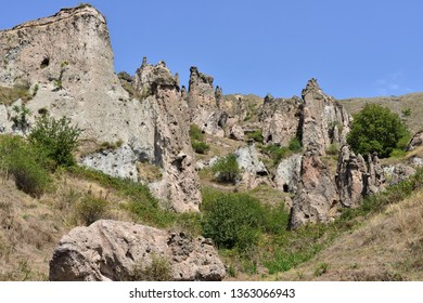 Viev on the Khndzoresk ancient cave city in mountain rocks near Goris, one of the main attraction in Armenia