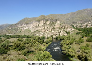 Viev on the Vardzia cave monastery and ancient city in mountain rocks, one of the main attraction in Georgia, UNESCO