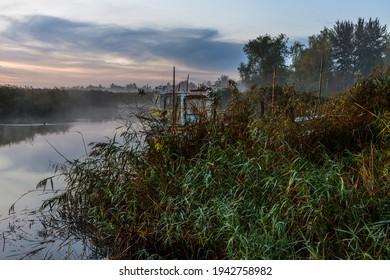 Viev on Zalew Wislany from coast in Katy Rybackie
