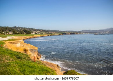 View from 17 Mile Drive, pebble beach .  Golf course views of seaside links of the Monterey Peninsula Country Club located on the . Famous Attraction in US.