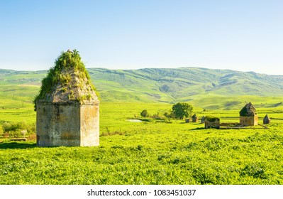 View of the 17th century memorial mausoleum complex in the Kalahana village, Azerbaijan. Located in the south of the Shemakha city