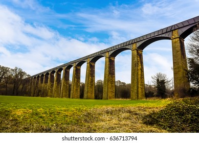 A view of the 18 stone arches and cast iron trough of the Pontcysyllte Aqueduct (the highest in the world) on the Ellesmere canal near Llangollen, Wales