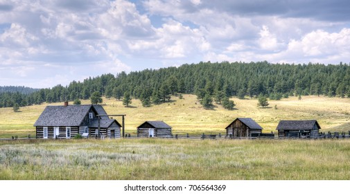 View of the 1878 A.D. Adeline Hornbek Homestead, which is a part of the Florissant Fossil Beds National Monument near Florissant, Colorado, U.S.A.