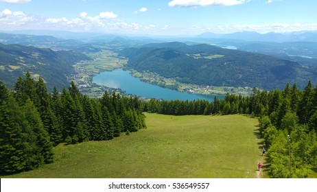 The view of a 20-30m high seat to the beautiful Ossiacher See in Carinthia, Austria