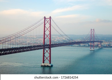 View of 25th of April Bridge, a suspension bridge connecting the city of Lisbon, capital of Portugal, to the municipality of Almada on the left (south) bank of the Tagus river. Lisbon, Portugal