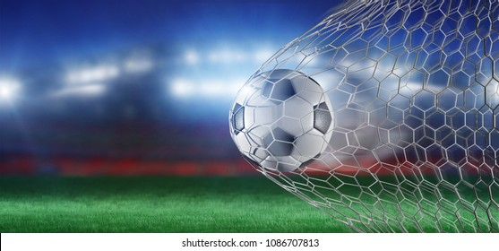 View of a 3D rendering Football ball in the net of a goal