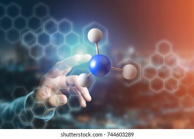 View of a 3d rendering molecule on a displayed on a medical interface